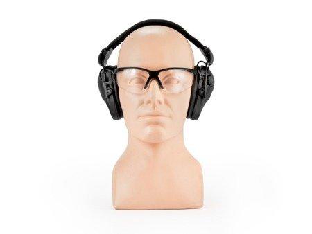 Aktywne ochronniki słuchu RealHunter ACTiVE Pro czarne + okulary ochronne